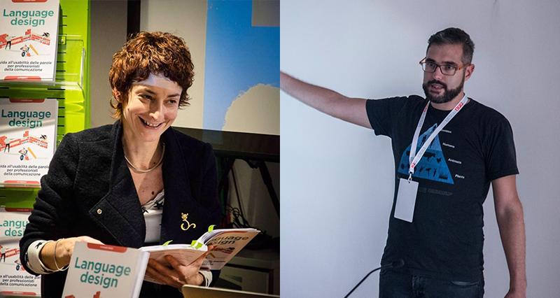 "I due relatori di ""Ux/Ui design tra dati e parole"" Yvonne Bindi e Carlo Frinolli"