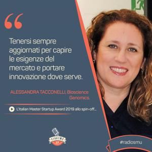 la citazione di Alessandra di Bioscience Genomics Italian Master Startup Award 2019