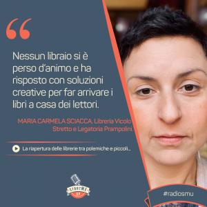 La citazione di Maria Carmela Sciacca di Legatoria Prampolini sulla riapertura delle librerie