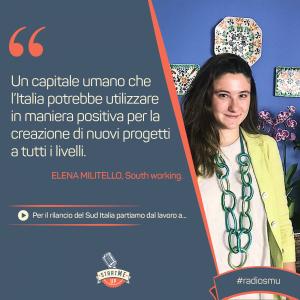 La citazione di Elena di South Working su lavoro a distanza nel Sud Italia